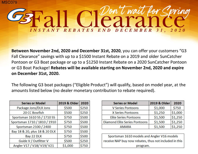 G3 Boats Fall Clearance Event at Great Lakes Boat Co
